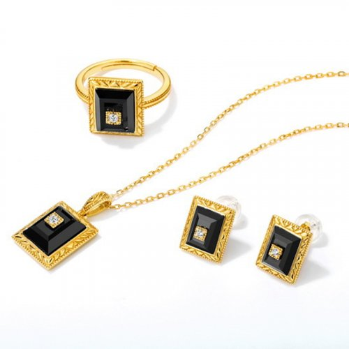 Vintage onyx sterling silver jewelry set
