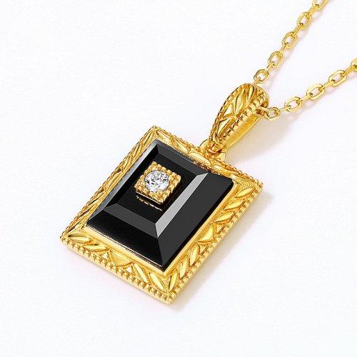 Vintage onyx sterling silver pendant