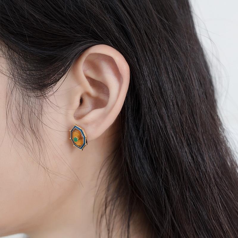 Natural amber sterling silver stud earrings