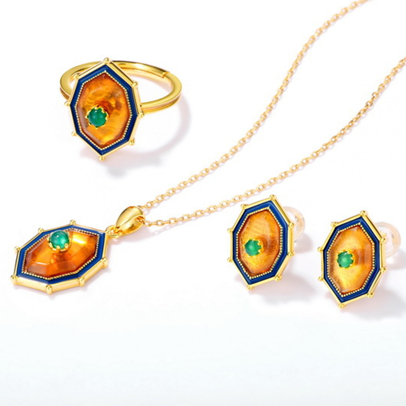 Natural amber sterling silver jewelry set