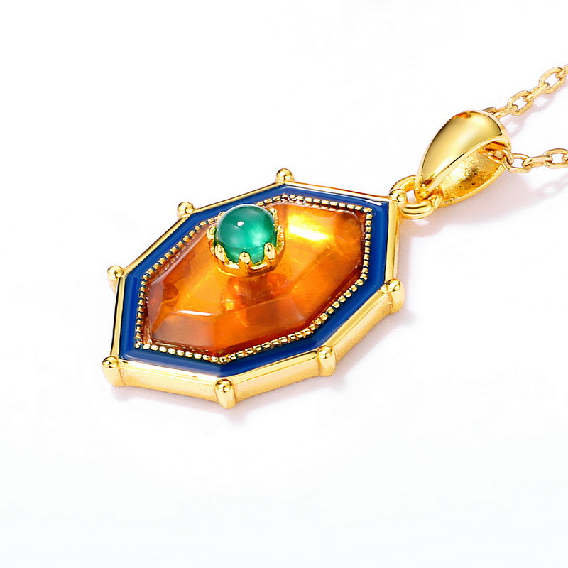 Natural amber sterling silver pendant