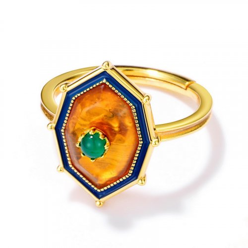 Natural amber sterling silver ring