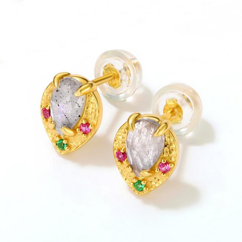 Labradorite sterling silver stud earrings