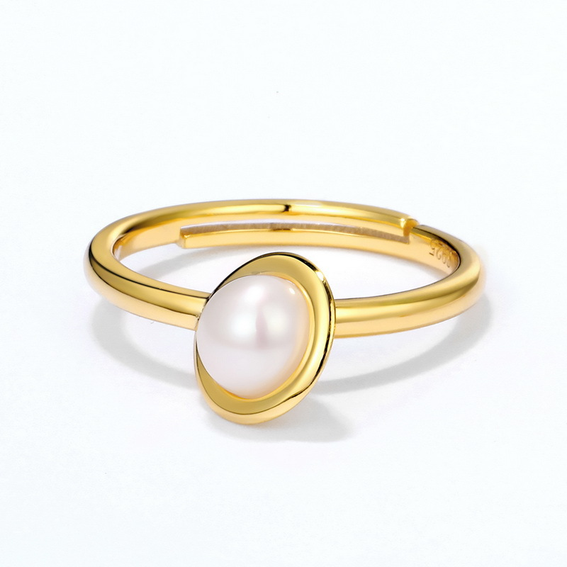 natural pearl sterling silver combination ring