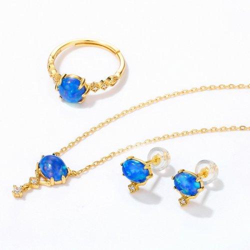 Opal sterling silver jewelry set