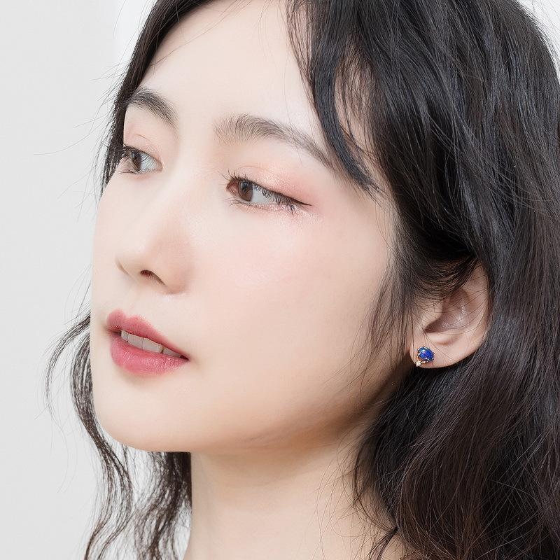 Opal sterling silver stud earrings