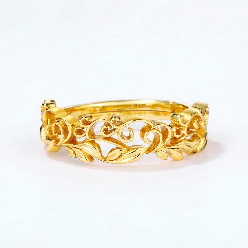 Carved vine sterling silver band ring