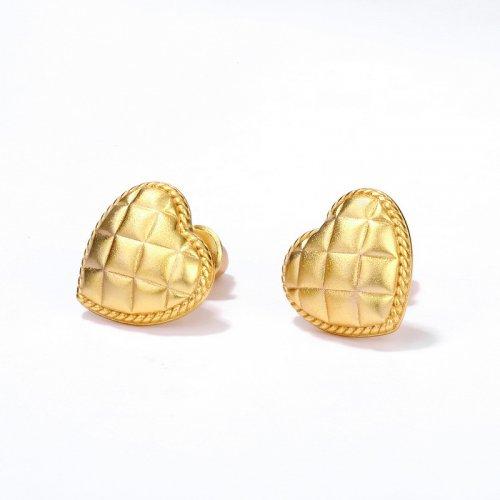 Pillow shaped heart sterling silver stud earrings