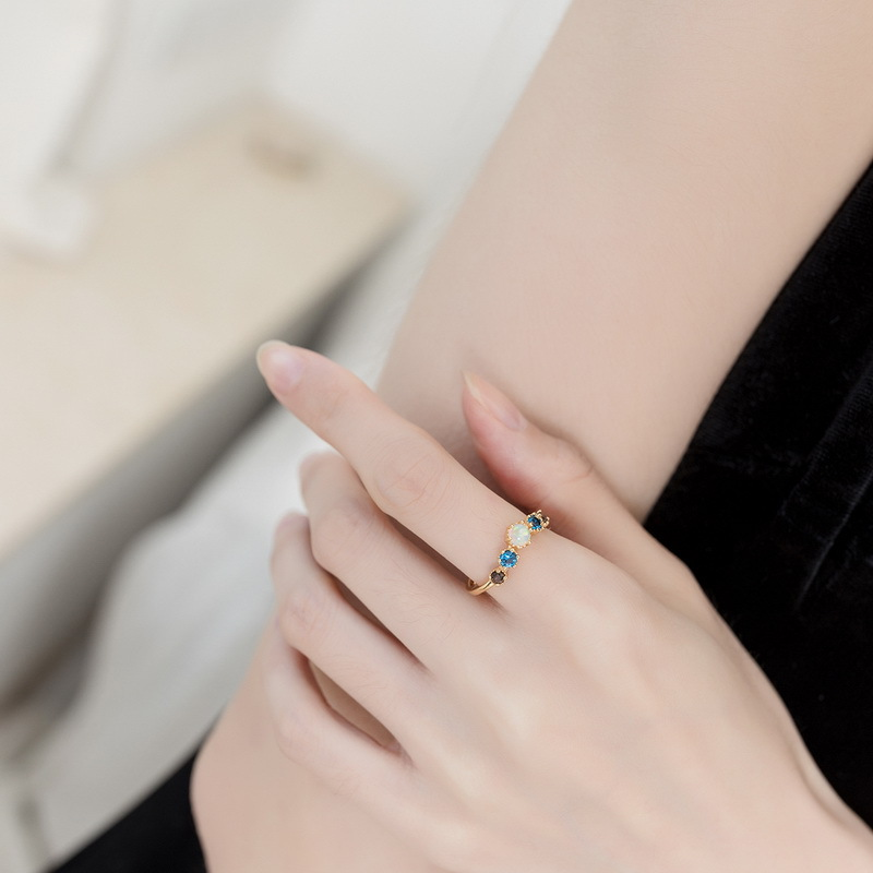Five-stone sterling silver ring