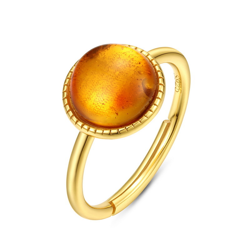 Round amber sterling silver ring