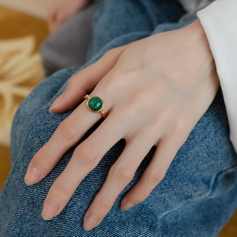 Natural malachite sterling silver ring