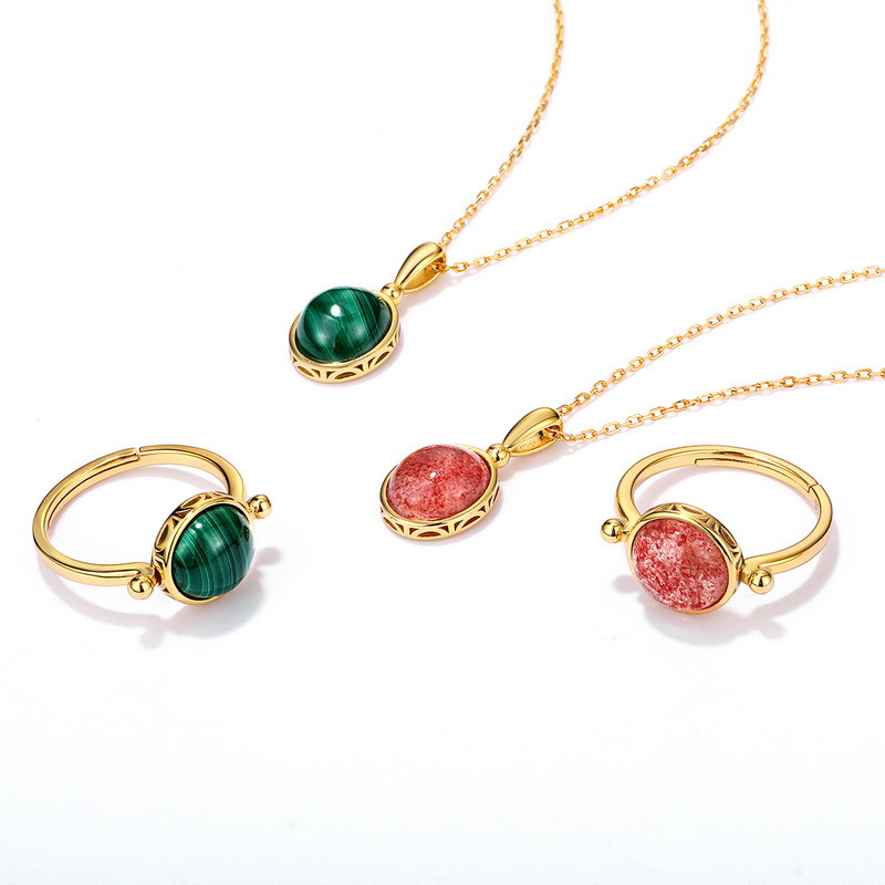 Natural gemstone sterling silver jewelry set