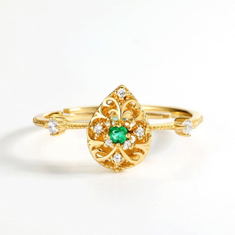 Carved vine emerald sterling silver ring