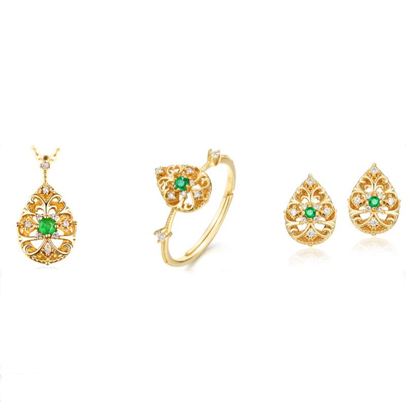 Carved vine emerald sterling silver jewelry set