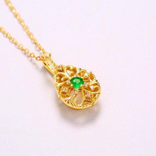 Carved vine emerald sterling silver pendant
