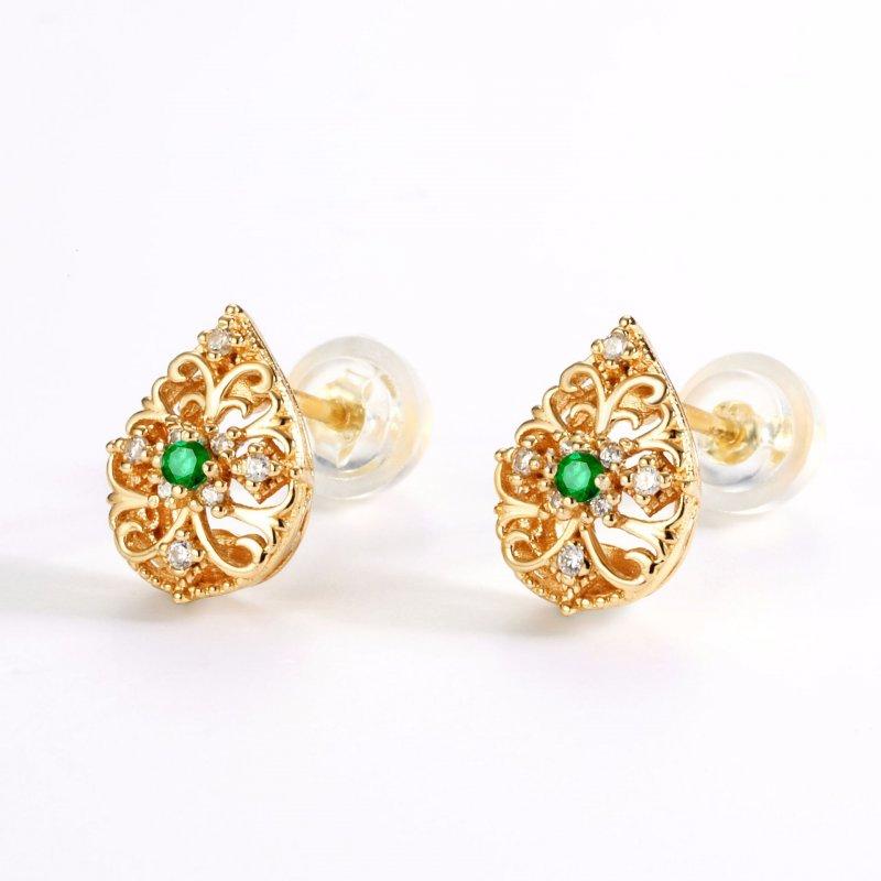 Carved vine emerald sterling silver stud earrings