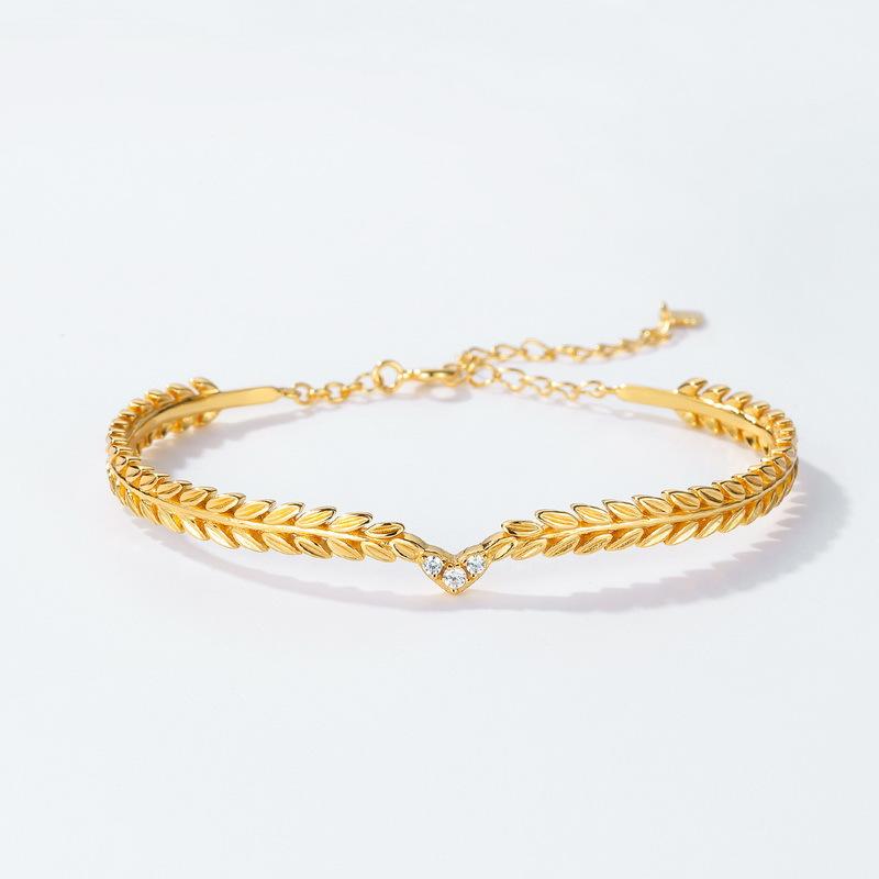 Olive branch sterling silver cuff bracelet