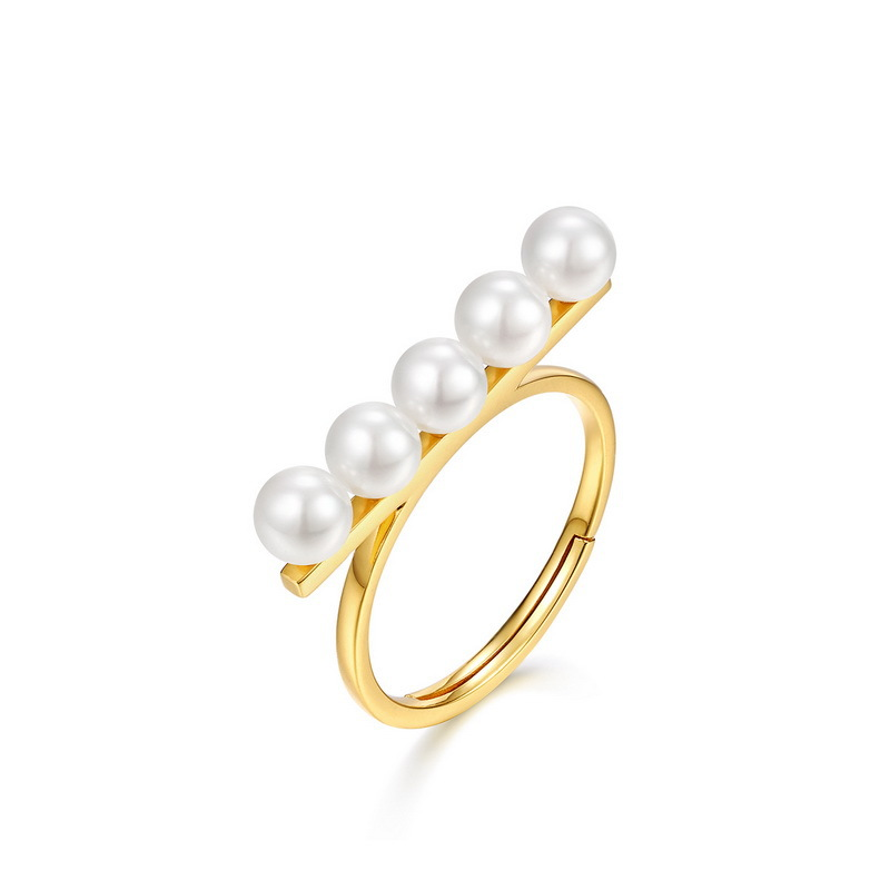 White pearl long bar sterling silver ring