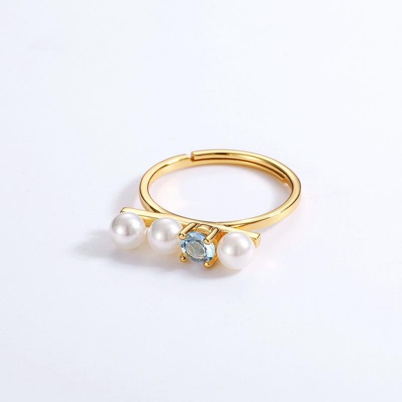 Topaz & pearl long bar sterling silver ring