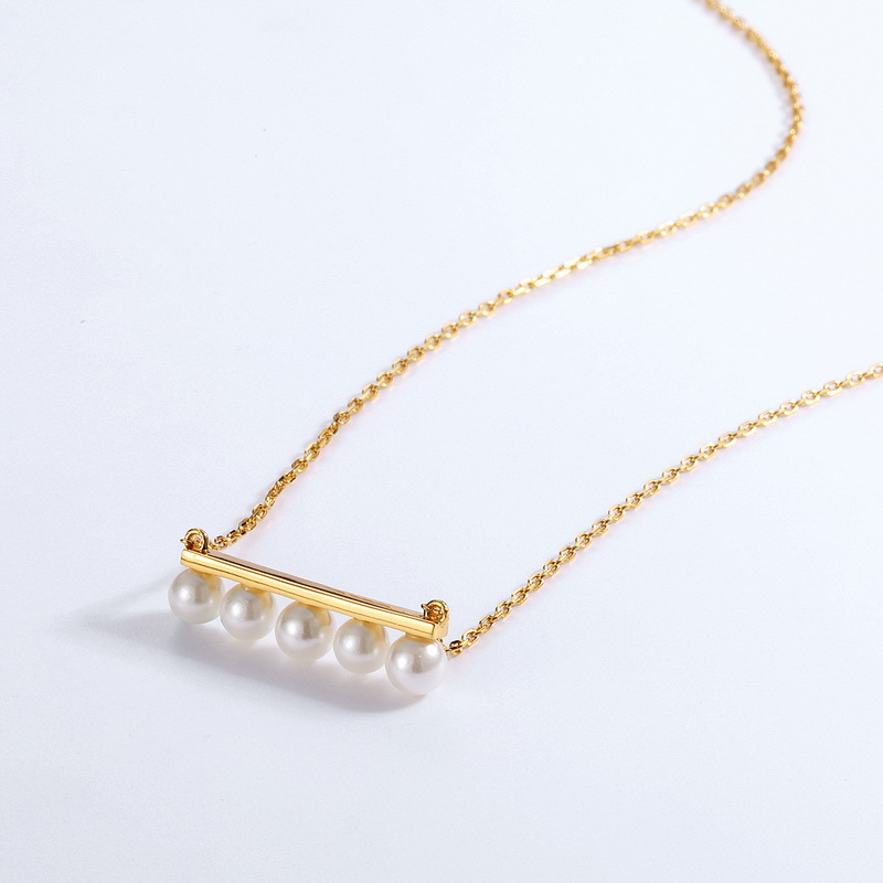 White pearl long bar sterling silver necklace