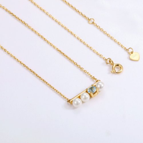 Topaz & pearl long bar sterling silver necklace