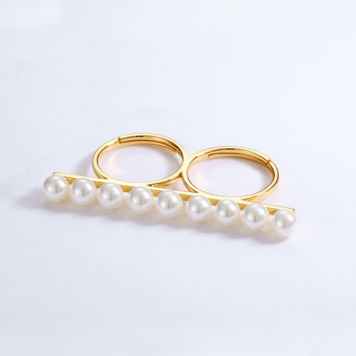 White pearl long bar sterling silver double ring
