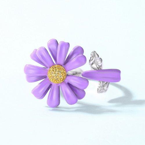 Purple daisy sterling silver ring