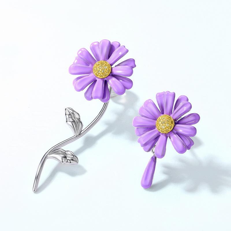 Purple daisy asymmetric sterling silver stud earrings