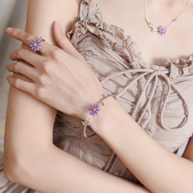 Purple daisy sterling silver cuff bracelet