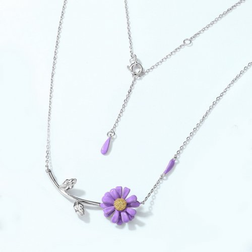 Purple daisy sterling silver chain necklace