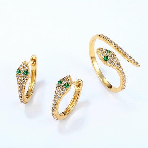 Glamor snake gold plated jewelry set