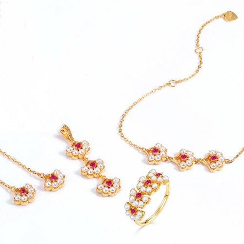 Flower petals silver pearl jewelry set