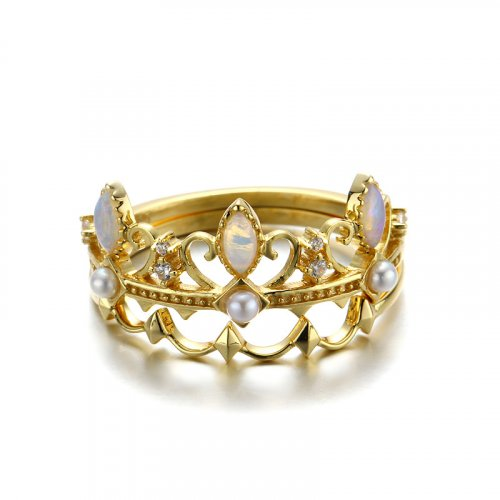 Set of 2 crown style sterling silver ring