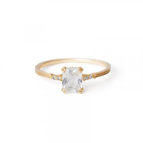 White quartz sterling silver ring