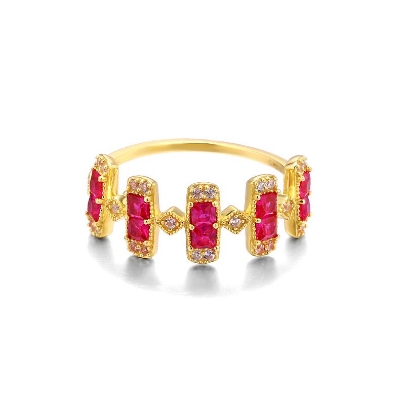Red corundum sterling silver band ring