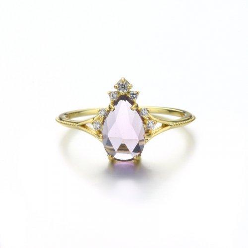 Princess amethyst sterling silver ring