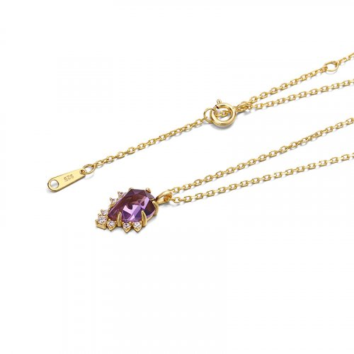 Princess amethyst sterling silver necklace