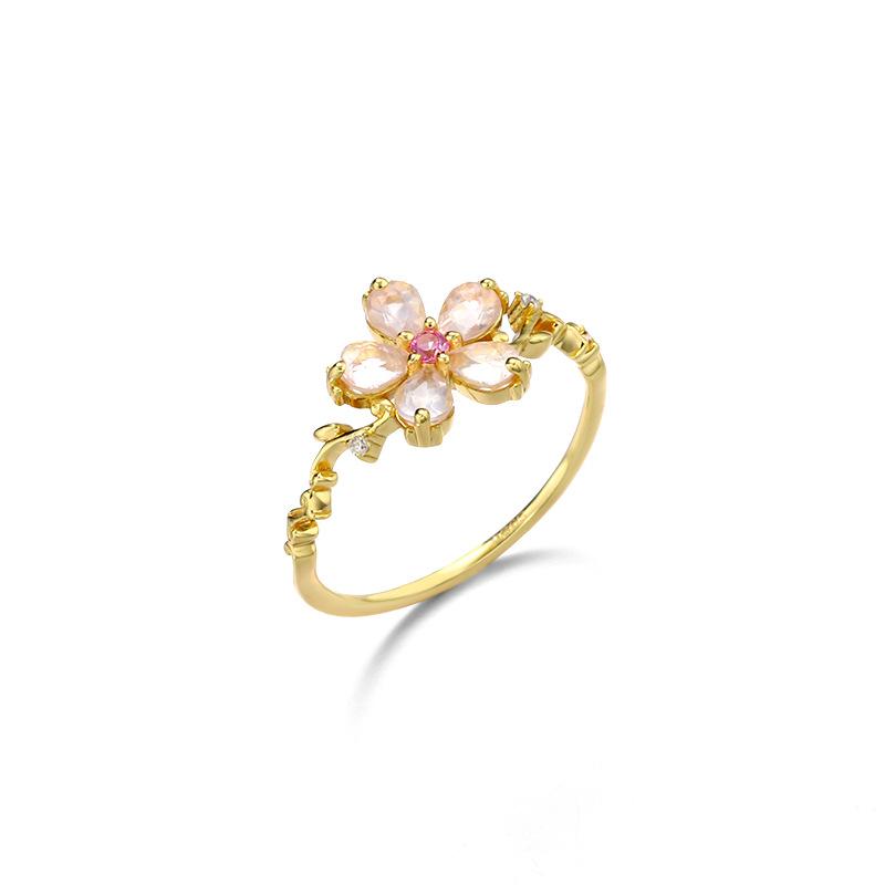 Five-petal sterling silver ring