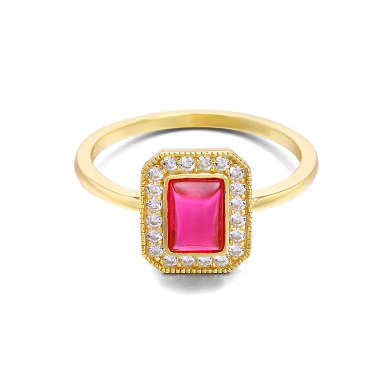 Vintage red corundum sterling silver ring