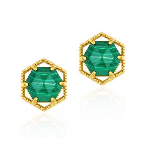 Hexagram malachite sterling silver stud earrings