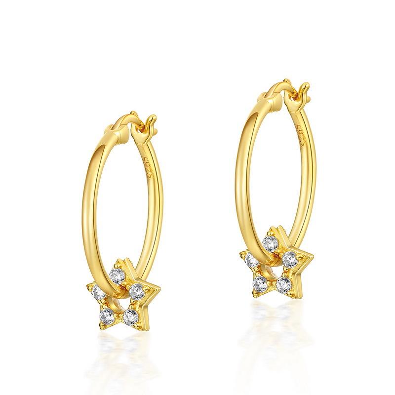 Zircon star sterling silver huggie earrings