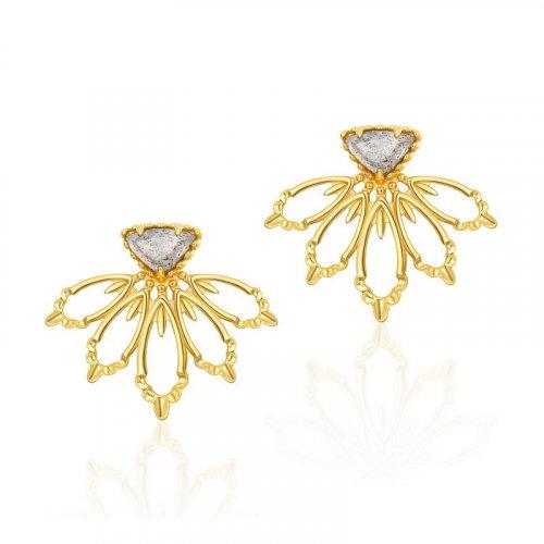Flower petal labradorite sterling silver stud earrings