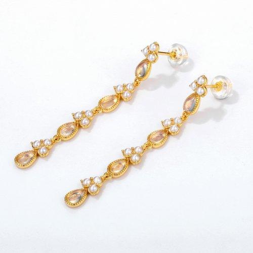 Opal & pearl sterling silver drop earrings
