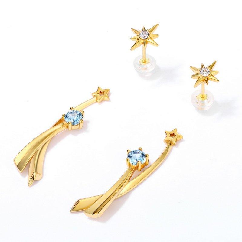 Double-star sterling silver stud earrings