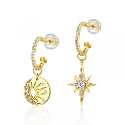 Sun & star sterling silver hoop earrings