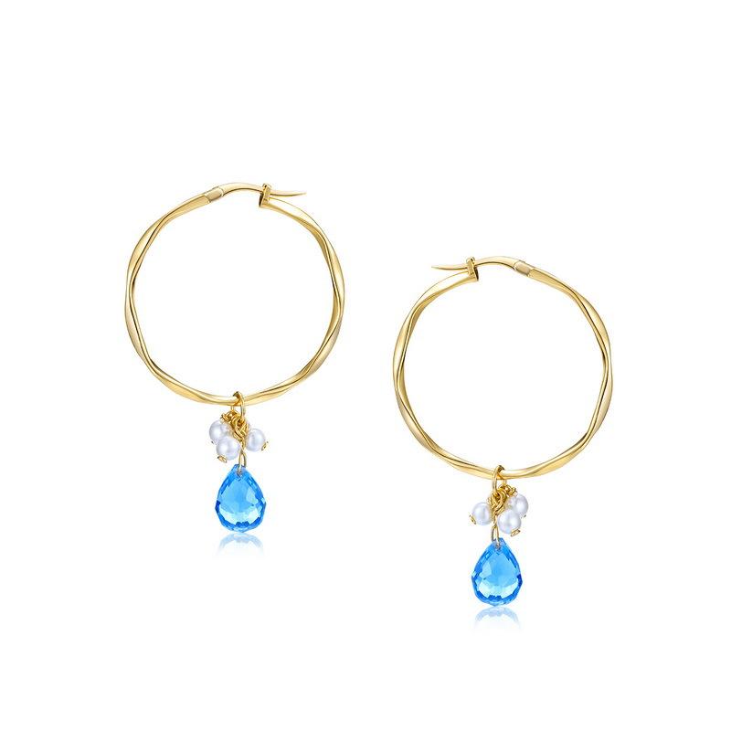 Blue quartz sterling silver huggie earrings