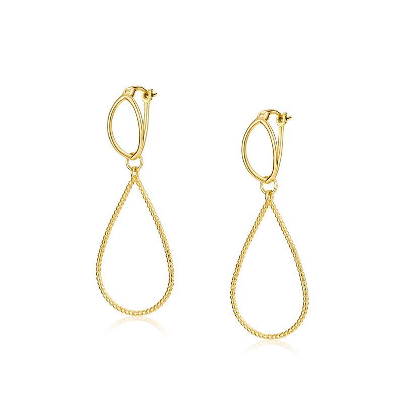 Drop-shaped sterling silver earrings