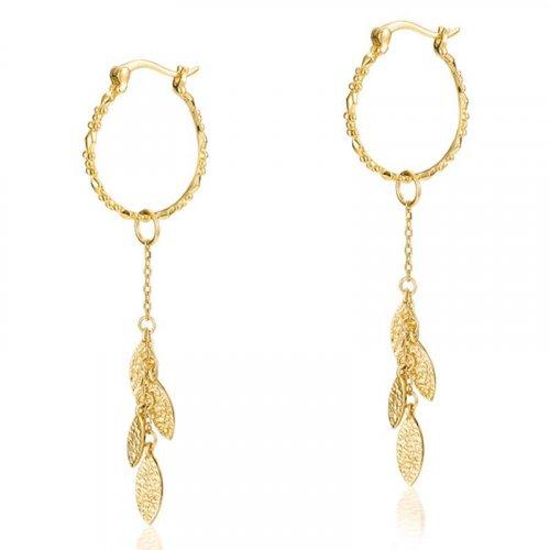 Leaves charm sterling silver huggie earrings