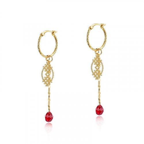 Red quartz charm sterling silver huggie earrings