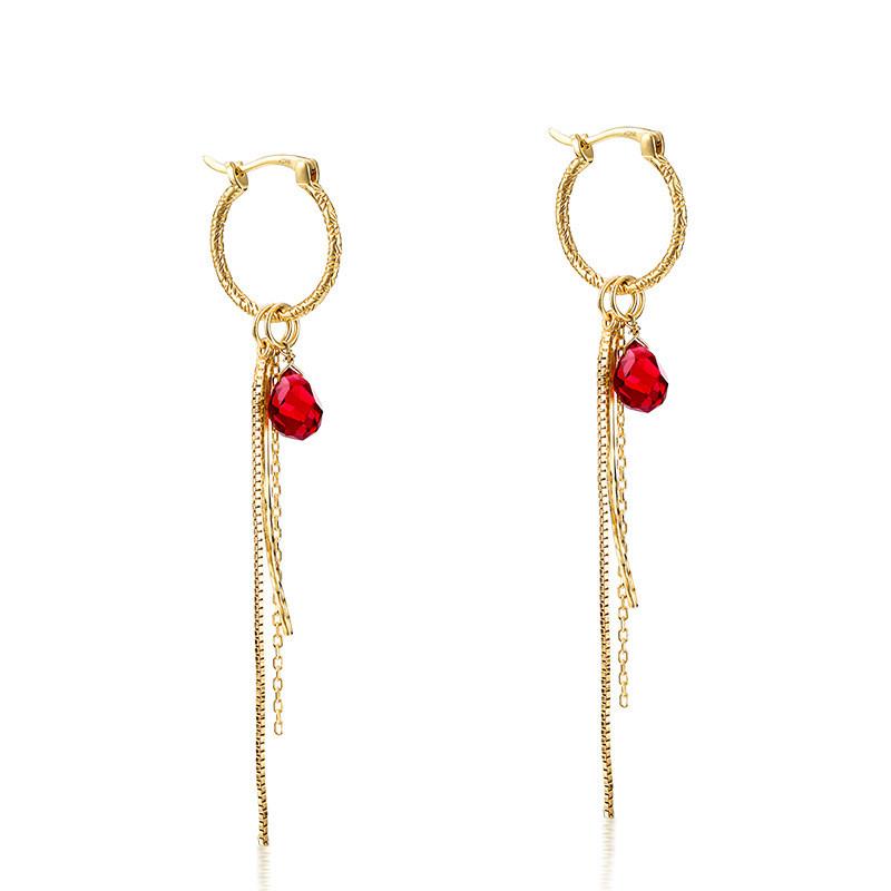 Tassel sterling silver huggie earrings